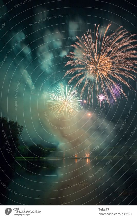 Fireworks and Lake II Party Event Feasts & Celebrations New Year's Eve Fairs & Carnivals Emotions Moody Joy Happy Happiness Life Fear Firecracker Colour photo