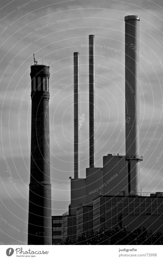 chimneys 3 4 Hannover Fist Building Gray Gloomy Black White Factory Chimney Lime tree three warm brothers bedspring factory Thermal power station