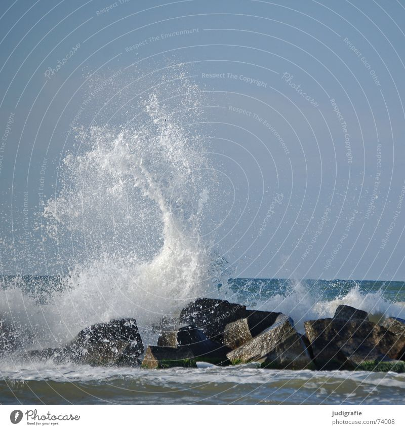 ocean Ocean Waves Surf White crest Break water Coast Wet Passion Gale Ahrenshoop Fischland-Darss-Zingst Salty Vacation & Travel Baltic Sea Stone Rock Water Sky