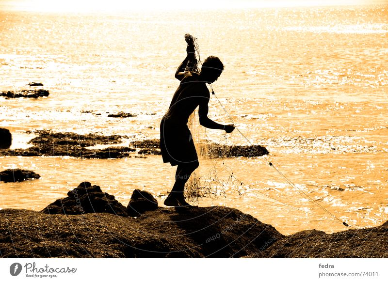 Ocean Rock Net Longing Indonesia Fisherman Asia Bali