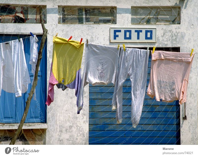 photo Beaded Exemplary Pastel tone Cleansed Laundry Photography South Italy Vacation & Travel Summer Clothesline Snapshot Household Clothing lace up neat Blue