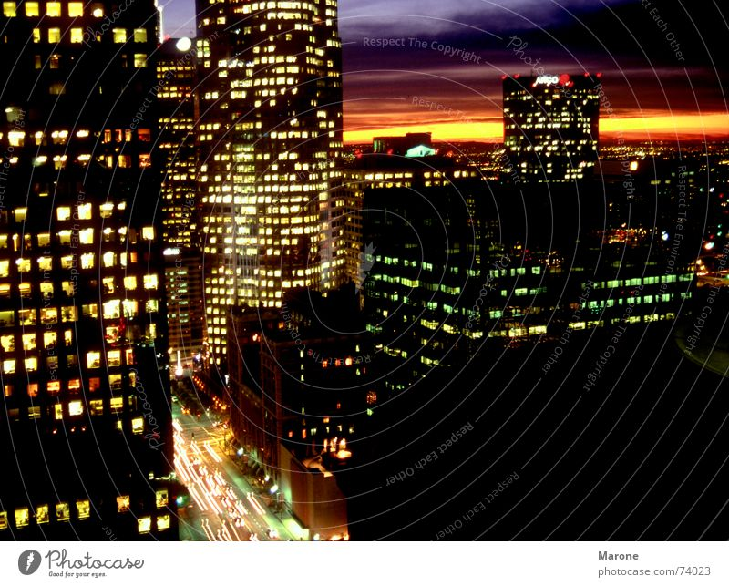 city night Los Angeles Night Light Sunset High-rise Americas Closing time Sea of light Night life Town USA Traffic infrastructure Evening Lighting Dusk