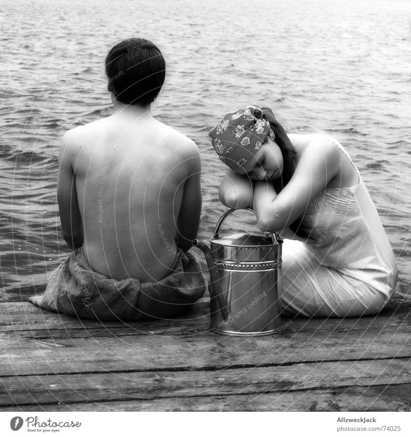 Woman Man Water Wood Coast Sit Gloomy Pants Footbridge Boredom Headscarf Watering can Jug Pick up water