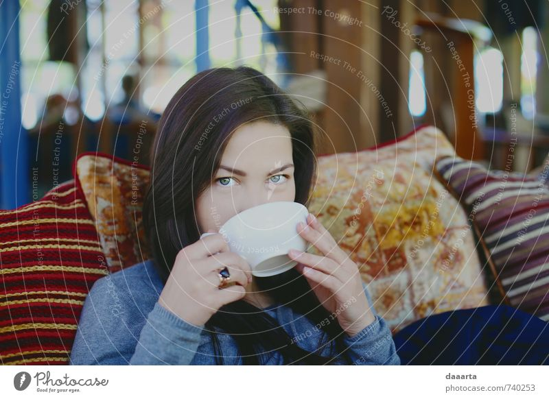 tea sunday Human being Youth (Young adults) Beautiful Relaxation Young woman Joy 18 - 30 years Adults Life Feminine Style Think Healthy Health care