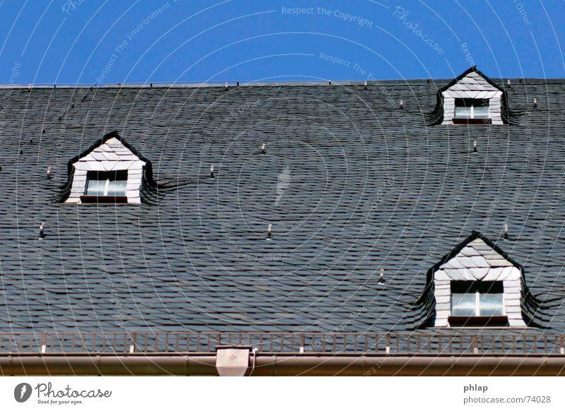 Window to top Roof Nave Dormer Brick Roofing tile Black White Horizontal 3 Sky Blue Above Tilt