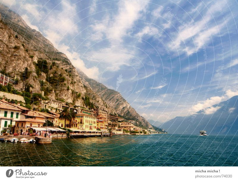 Water Sky Blue Clouds Mountain Lake Watercraft Rock Italy Turquoise Lime Suction Lake Garda