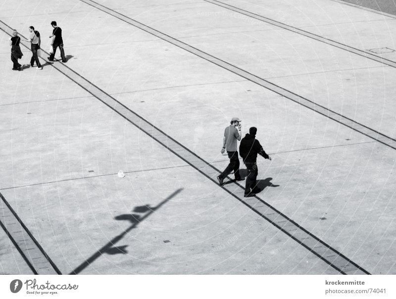 Trio/Duo Places Going Traverse Bird's-eye view Direction Lunch hour Opposite To talk Friendship Couple Human being Multiple Shadow Black & white photo Line trio