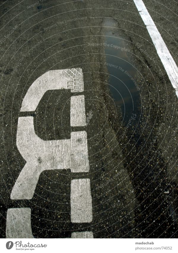GROUND | urban typo floor marking traffic traffic bus stop Letters (alphabet) Typography Asphalt Puddle Gray Gloomy Reflection Inverted Transport Bus stop a be