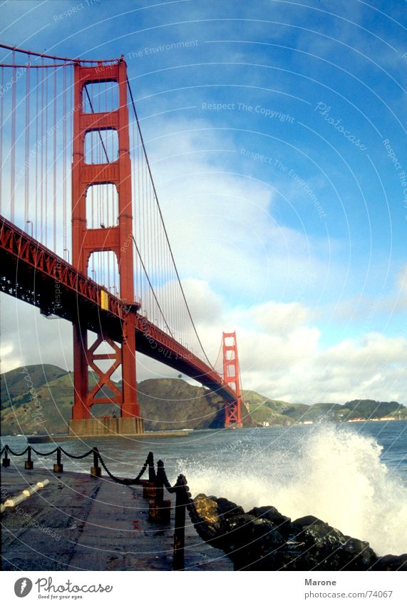 Golden Gate Strait Golden Gate Bridge Waves Ocean Gale Surf Vertical San Francisco Americas USA Sky Blue Water Vacation & Travel strong wind