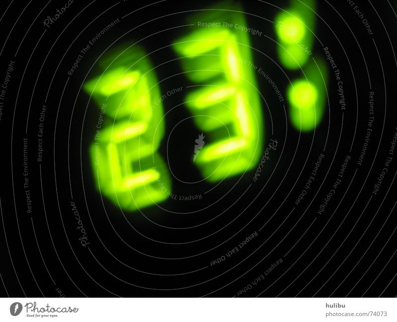 Green Clock Digits and numbers Alarm clock Alarm 23