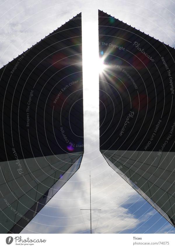Sky Sun Blue Calm Clouds Death Building Religion and faith Concrete Back Modern Peace Monument God Memory