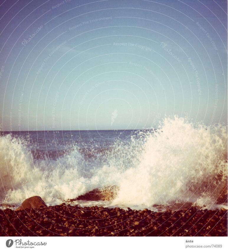 Water Old Sky Ocean Joy Beach Stone Power Waves Coast Drops of water Wet Horizon Rock Energy industry Might