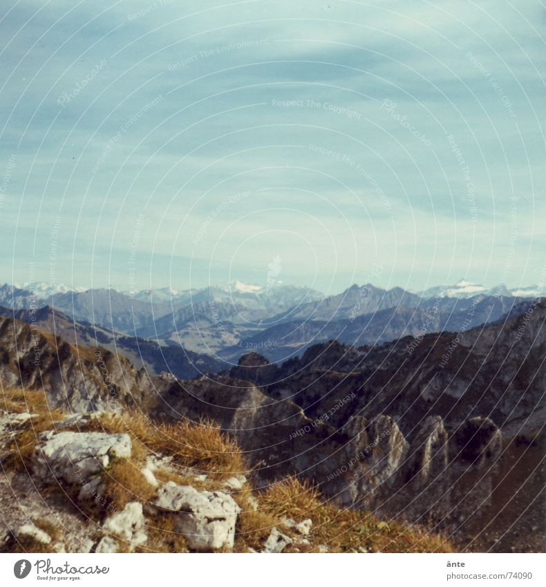 Nature Sky Summer Calm Far-off places Grass Hiking Rock Level Vantage point Leisure and hobbies Switzerland Climbing Alps Infinity Footpath