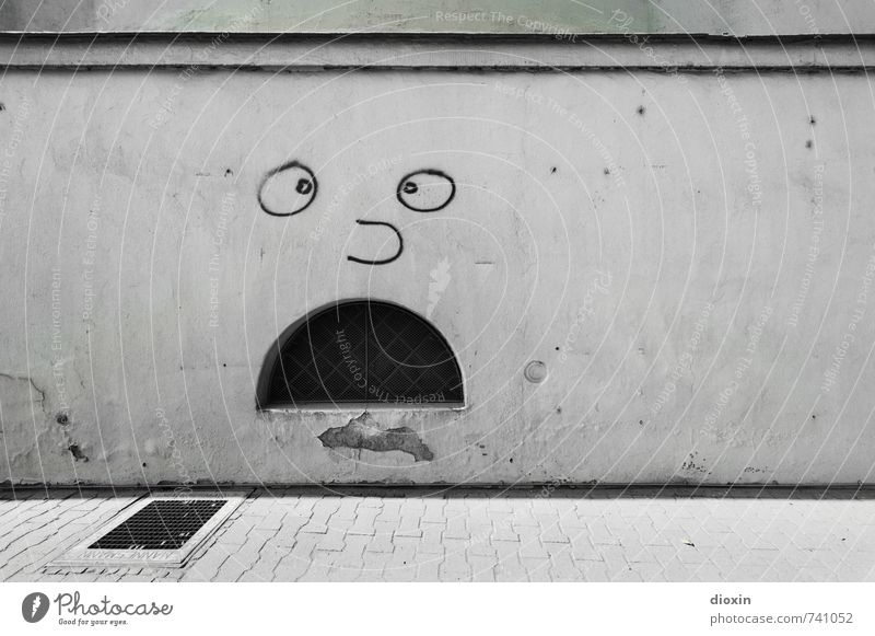 Hessentreffen 14 OMG! Art Work of art Graffiti Street art Deserted Wall (barrier) Wall (building) Facade Window Cellar window Lanes & trails Sidewalk Town