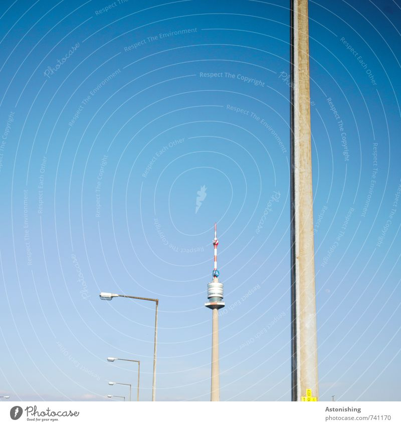 Sky Blue White Warmth Spring Gray Metal Air Weather Stand Tall Beautiful weather Corner Tower Thin Street lighting