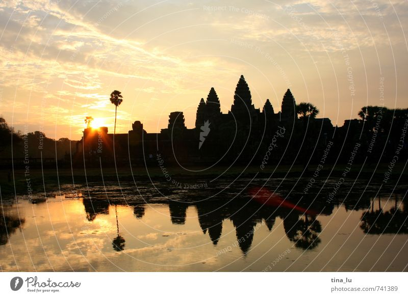 Sky Calm Happy Contentment Tower Culture Past Palm tree Pond Temple Lens flare Buddhism Cambodia Angkor Wat South East Asia Angkor Thom