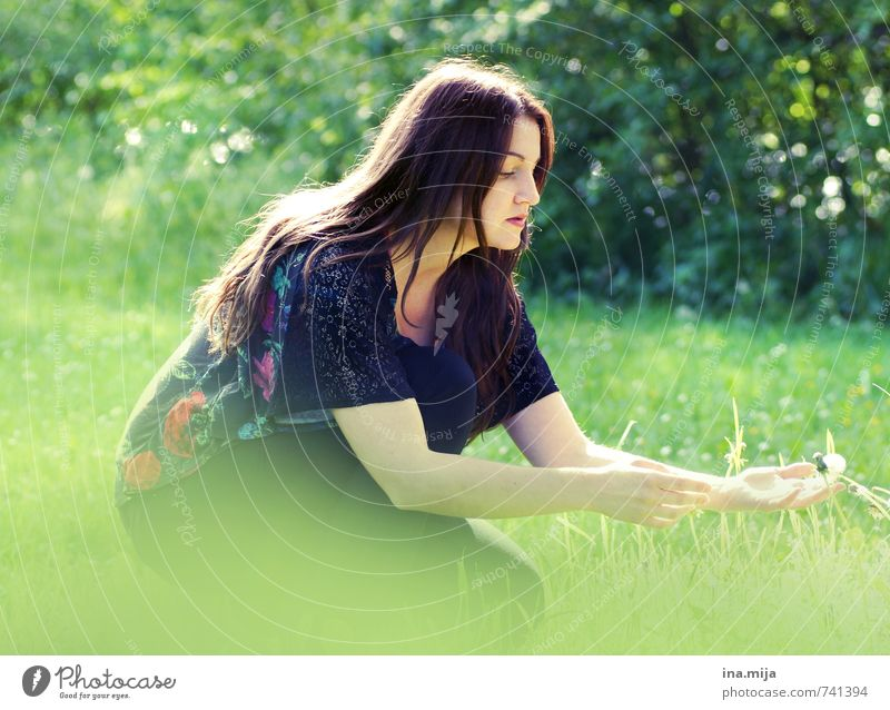 Human being Woman Nature Youth (Young adults) Beautiful Green Plant Summer Young woman Landscape 18 - 30 years Forest Adults Environment Meadow Feminine