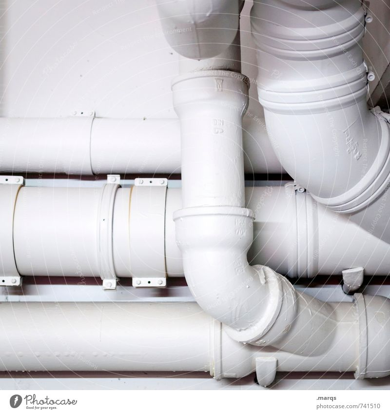 White Wall (building) Wall (barrier) Bright Simple Round Attachment Pipe Connection Drainpipe