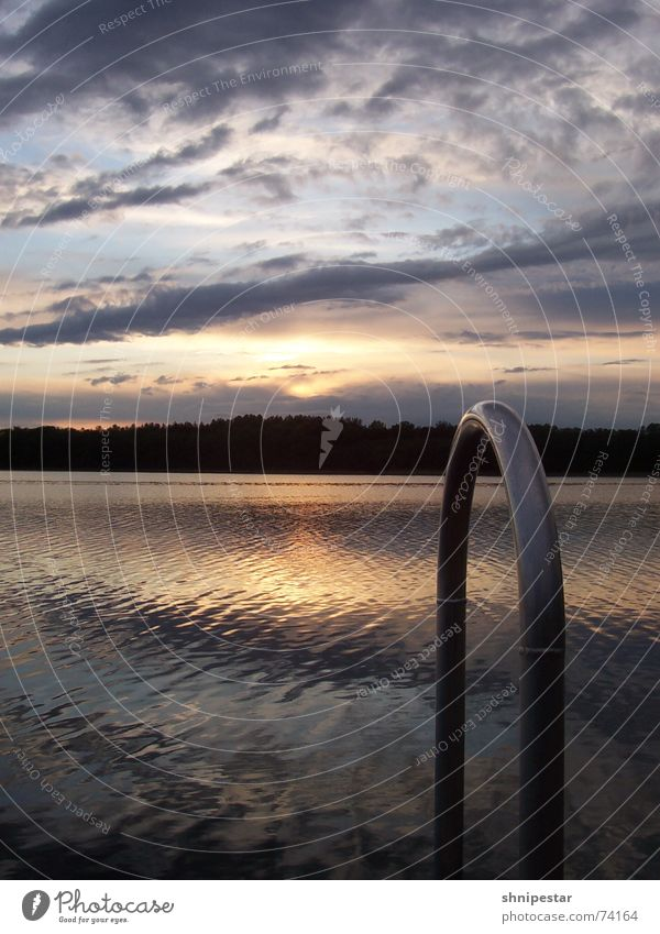 Sun Plumst Ins Wasser May Footbridge Pool ladder Steel Clouds Sunset Cold Reflection Relaxation Loneliness Forest Middle Mecklenburg-Western Pomerania Metal