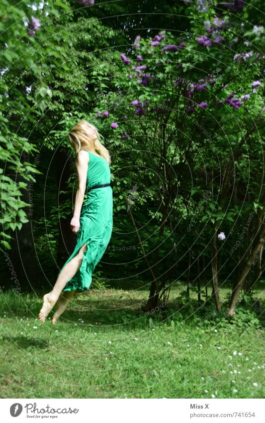fly Meditation Human being Feminine Young woman Youth (Young adults) 1 18 - 30 years Adults Nature Spring Summer Dress Blonde Flying Sleep Jump Dream Green