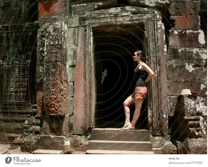 Angkor Tourist Attraction Monument Angkor Wat Cambodia Tourism Temple Buddhism Palace Monarchy Virgin forest Deities Breasts Girl Gate Car door Ruin Sunlight