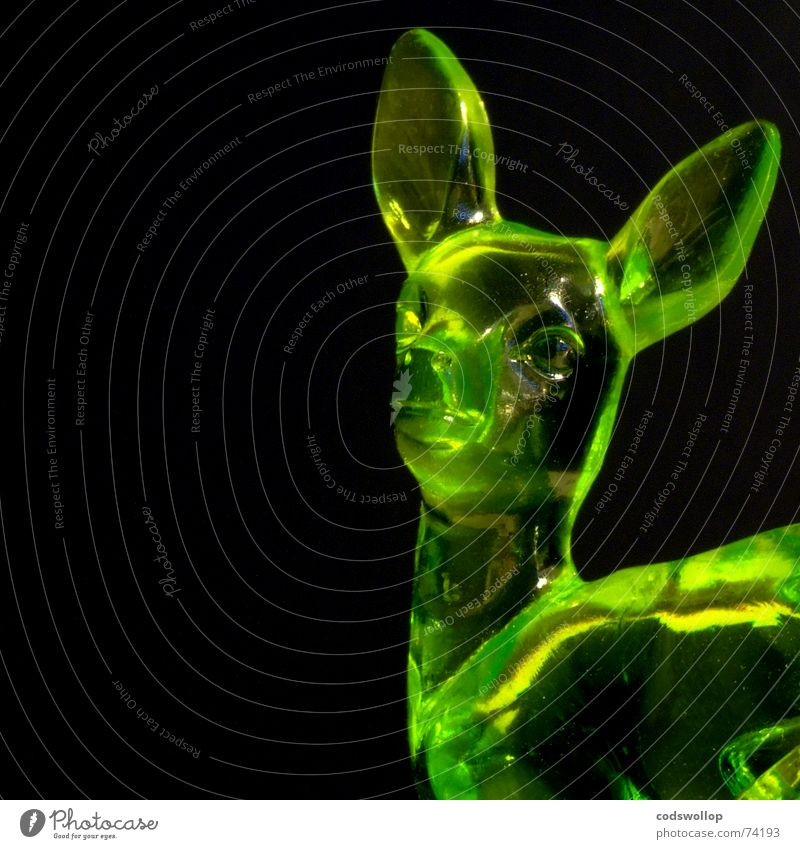 jeannine Deer Green Yellow Black Reflection Mammal Decoration colour plastic Statue glass stopper hunter