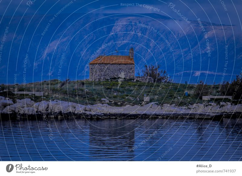 "Chapel on the island Landscape Plant Animal Elements Water Hill Mountain Coast ""Novi Vinodolski,"" Croatia Europe Hut Bird 2 Blue Gray Green ""Dusk of the night"