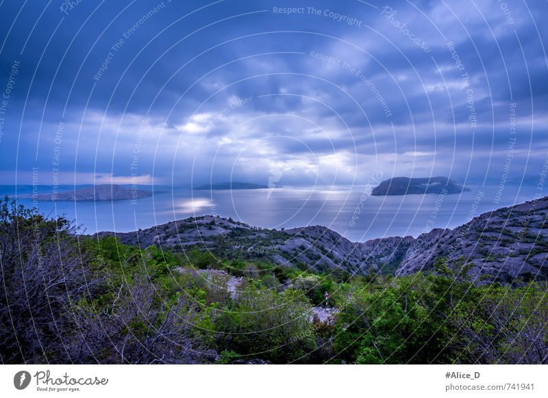 Blue Horizon Nature Landscape Elements Water Sky Clouds Storm clouds Bad weather Bushes Rock Coast Ocean Adriatic Sea Island Croatia Europe Deserted Gray Green