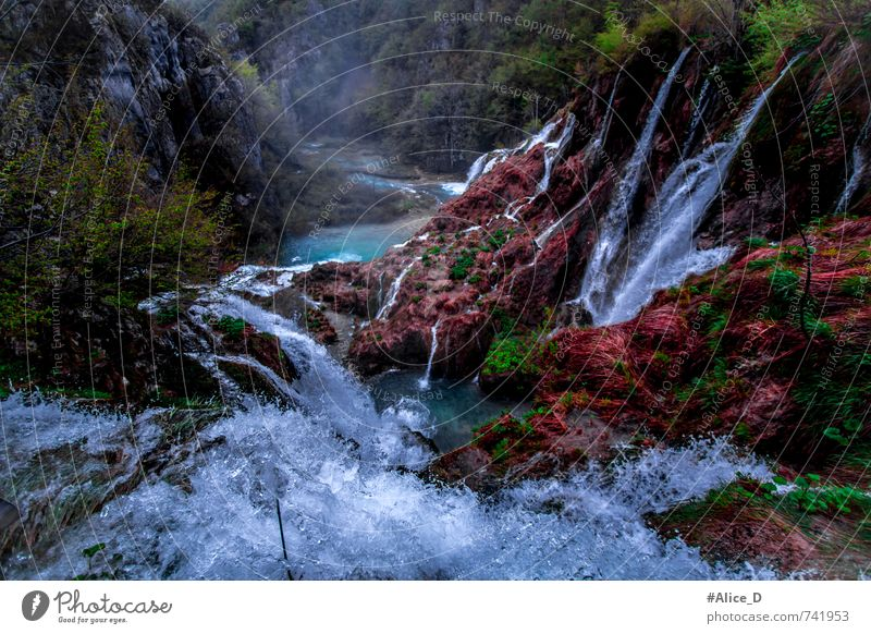 wonderland Environment Nature Landscape Plant Elements Water Drops of water Park Canyon Waterfall Plitzvicer Waterfalls Blue Brown Green Red Turquoise