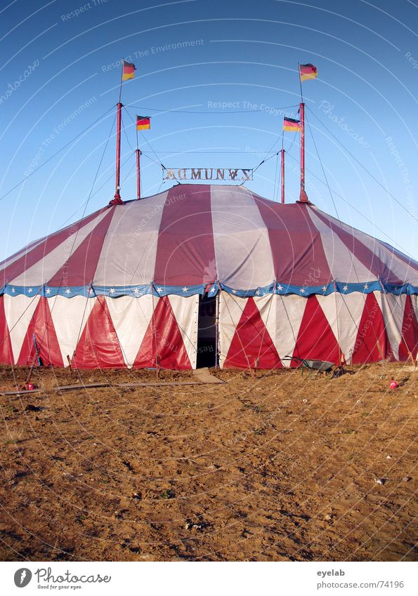 Upperclass Camping Tent Red White Flag Circus Sky Roof Shows Circus ring Summer Brown Germany Animal Entrance Stripe flags Star (Symbol) Blue Earth ground