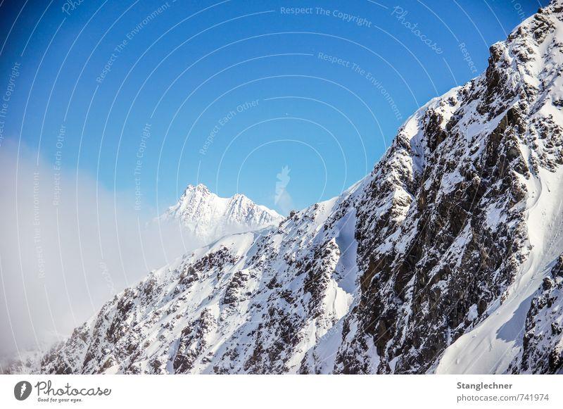 Sky Nature Blue White Black Winter Mountain Movement Moody Earth Snowfall Air Fog Beautiful weather Threat Peak