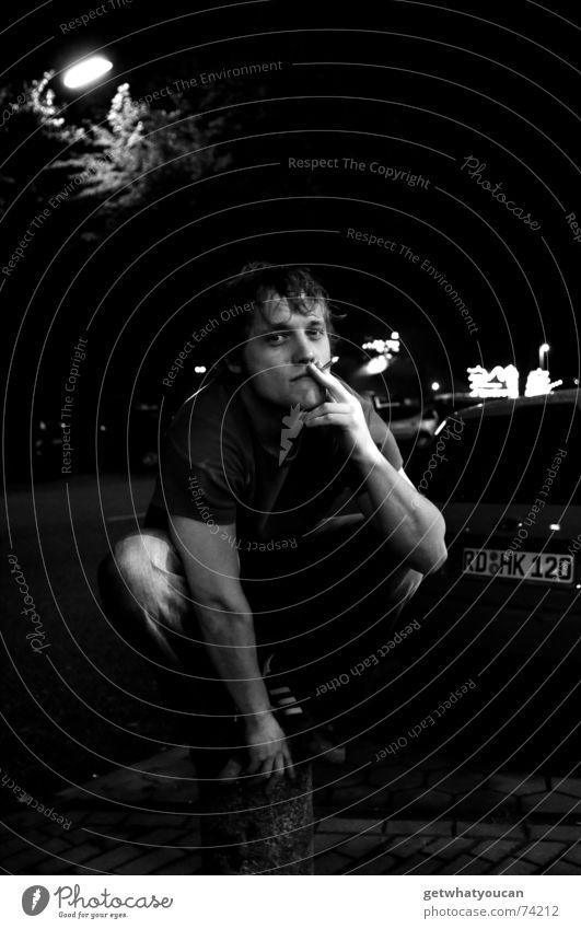 Man Street Dark Car Lamp Contentment Arm Sit Cool (slang) Smoking Lantern Serene Cigarette Pole Crouch Crouching