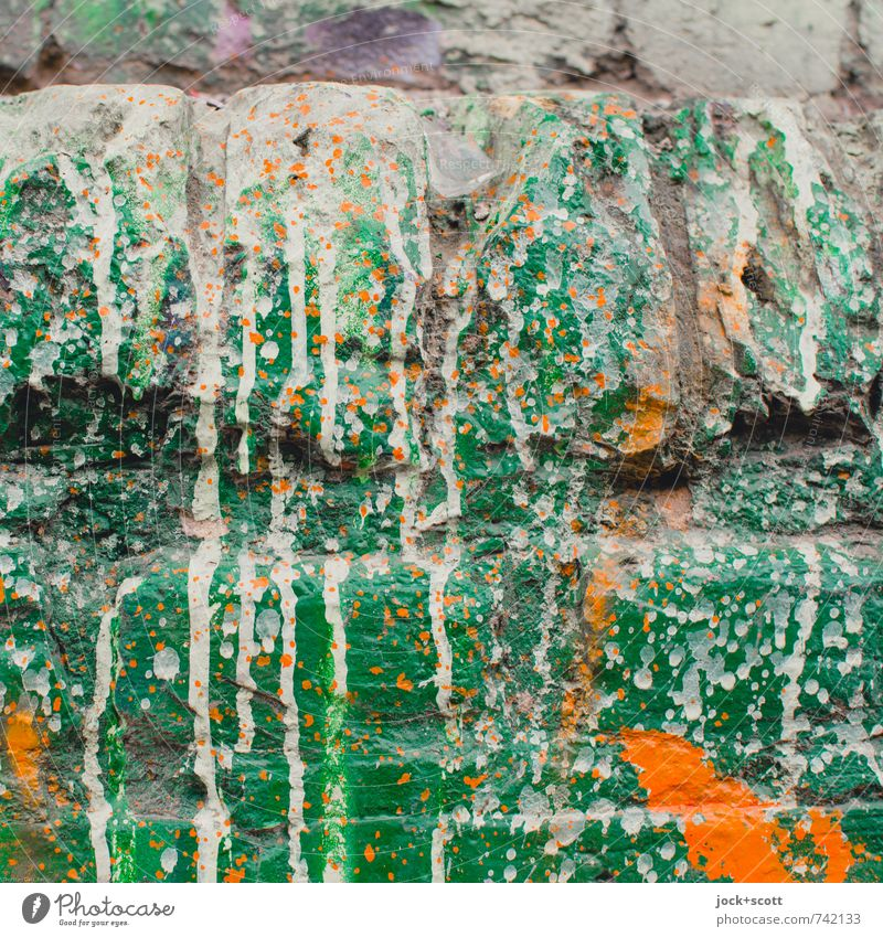 Manifestation (green) Style Subculture Street art Wall (barrier) Varnish Brick Graffiti Color gradient Ravages of time Green Orange Inspiration Fashioned Chaos