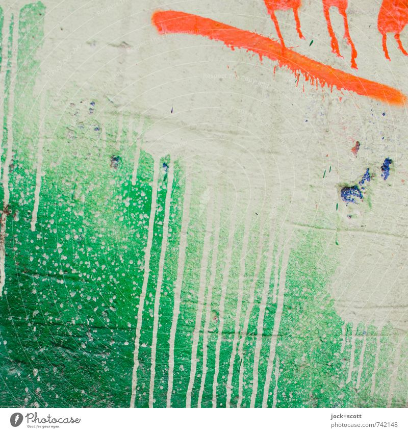 Green Joy Wall (building) Graffiti Wall (barrier) Background picture Time Stone Line Orange Decoration Power Authentic Creativity Eternity Hip & trendy