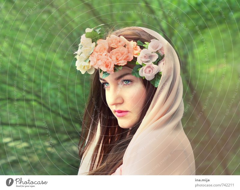 Human being Woman Youth (Young adults) Green Beautiful Young woman Flower 18 - 30 years Face Adults Feminine Hair and hairstyles Pink Esthetic Authentic Observe
