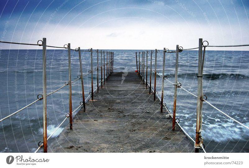 sea tomorrow Footbridge Ocean Waves Horizon Vacation & Travel Health Spa Morning Italy Bathroom Water Far-off places bathing holidays go for a swim