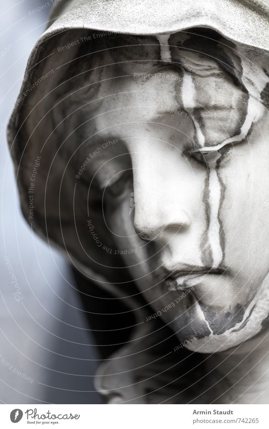 Portrait of a Marble Mary Woman Adults Head Art Work of art Sculpture Old Think Authentic Dirty Original Gray White Emotions Moody Belief Humble Senior citizen