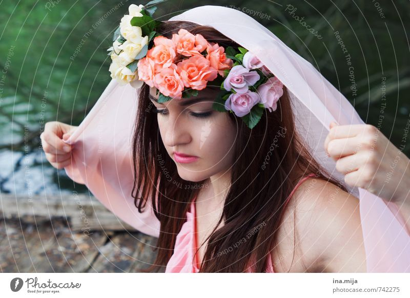 young woman with flower wreath in hair pretty Human being Feminine Young woman Youth (Young adults) Woman Adults Face 1 13 - 18 years Child 18 - 30 years
