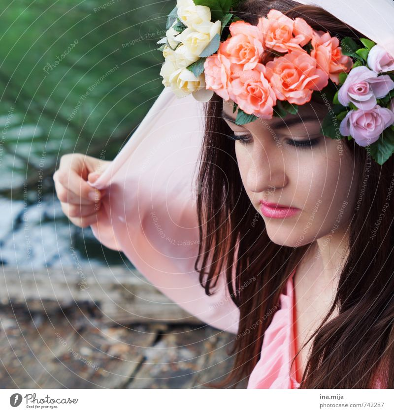 Human being Woman Child Nature Youth (Young adults) Beautiful Water Plant Summer Young woman 18 - 30 years Adults Environment Feminine Spring Style