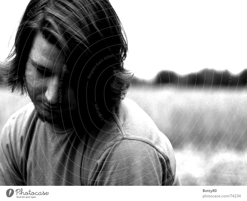 Man White Face Black Emotions Sadness Think Moody Wait Hope Grief Desire Boredom Expectation
