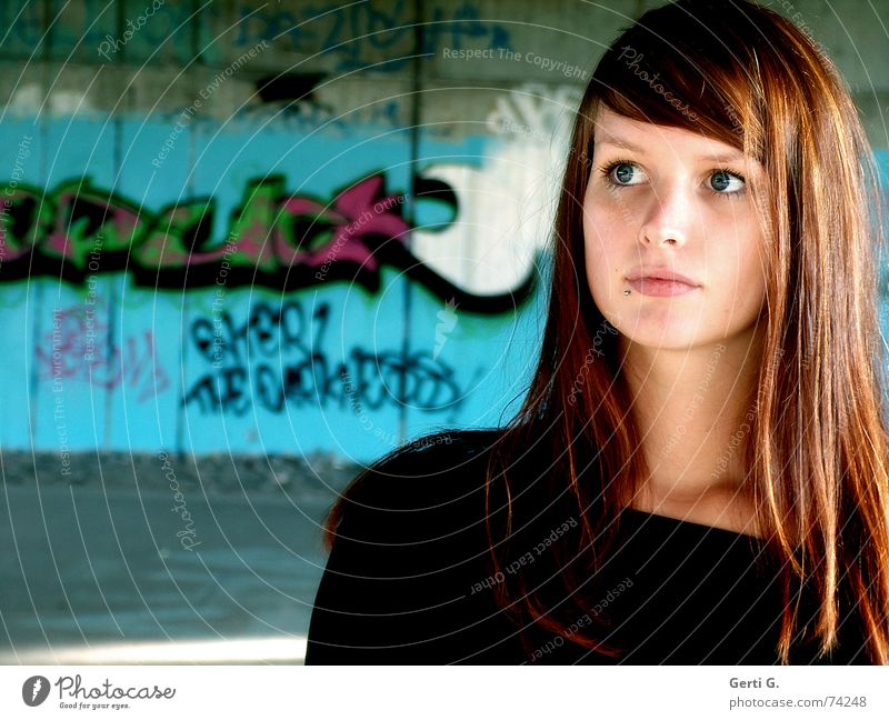 Human being Woman Youth (Young adults) Old Beautiful Young woman Wall (building) Graffiti Wall (barrier) Perspective Soft Friendliness Longing Delicate