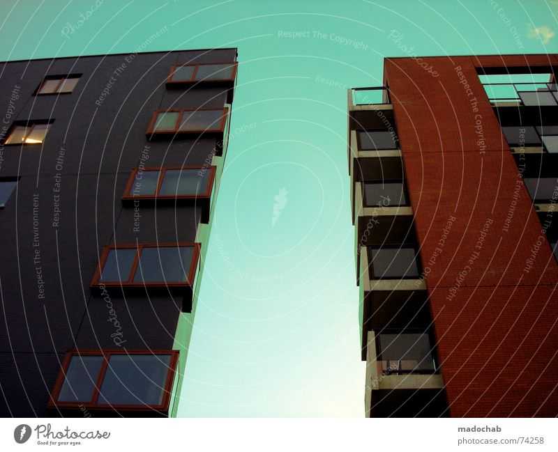 Sky City Blue Green Colour Red Clouds House (Residential Structure) Window Life Architecture Building Gray Freedom Flying Above