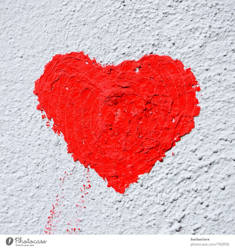herz.haft | generous. Mural painting Wall (barrier) Wall (building) Facade Sign Heart Red White Emotions Happy Love Infatuation Romance Colour Friendship