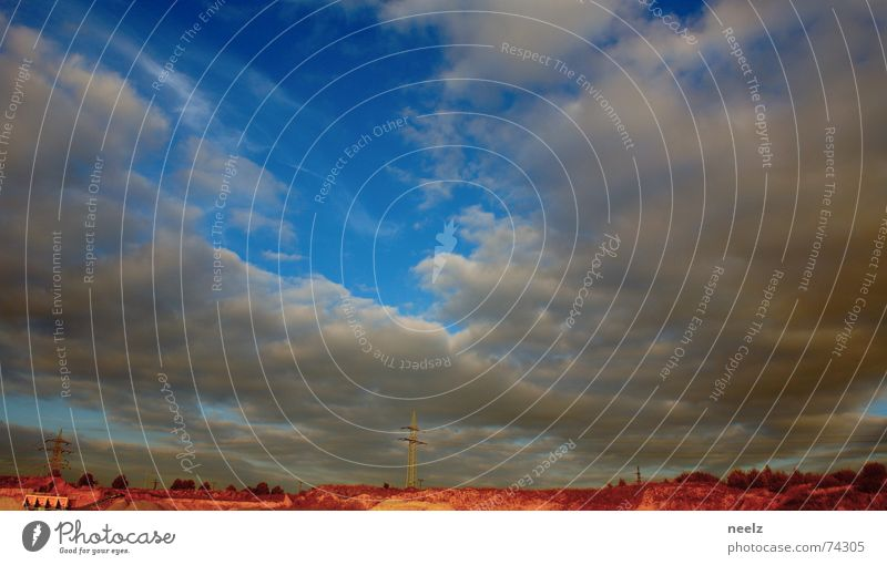 Sky Blue Clouds Sand Horizon Desert Dry Electricity pylon Badlands Sparse Overhead line