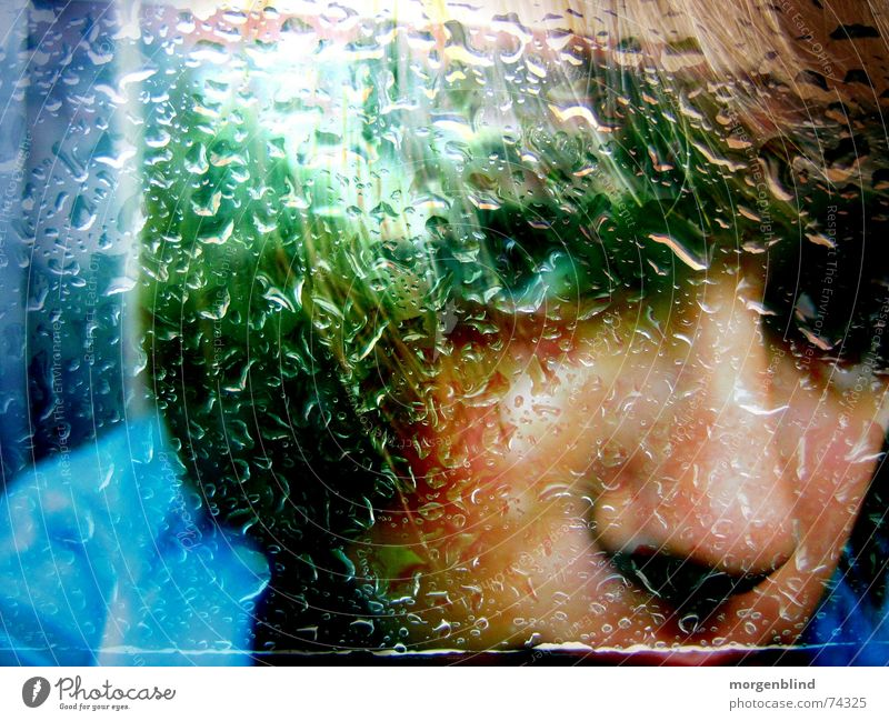 Woman Green Face Emotions Window Rain Moody Snapshot