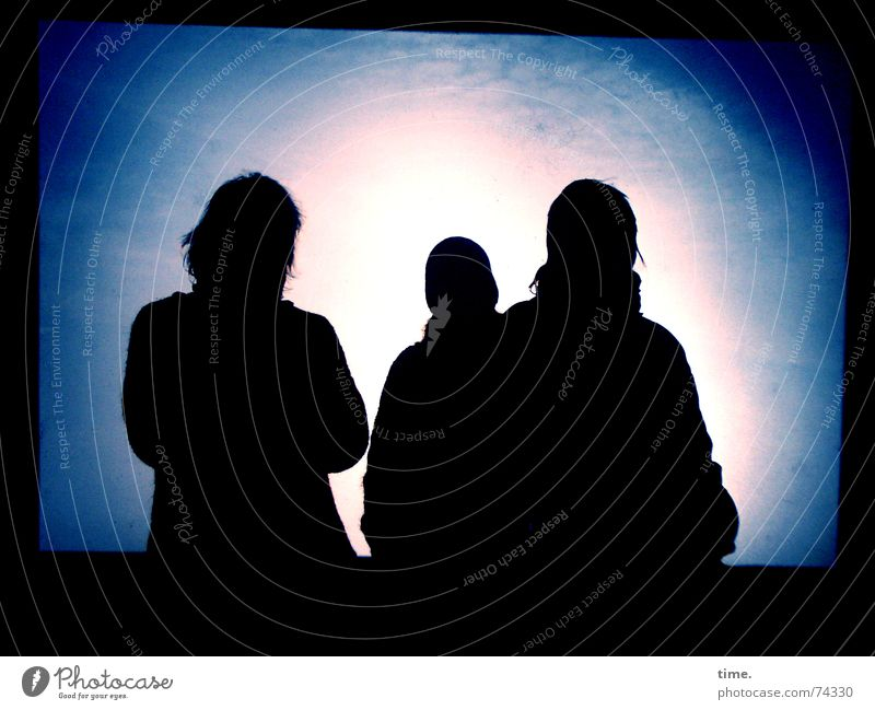 Trio Incognito Light Shadow Silhouette Winter Blue Background picture Foreground Eerie Communication Intuition Information Foreign outer space destination