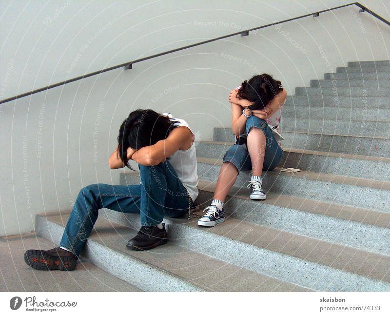Calm Relaxation Head Line Wait Sleep Sit Stairs Modern Break Observe Fatigue Trade fair Boredom Handrail