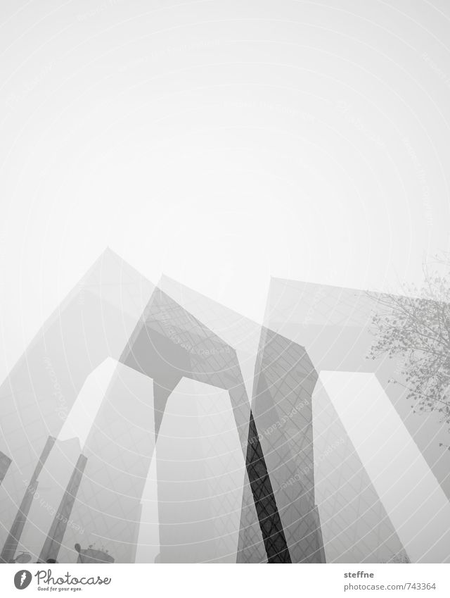 triple Beijing China Town City life High-rise Overpopulated Downtown Modern Contrast Double exposure