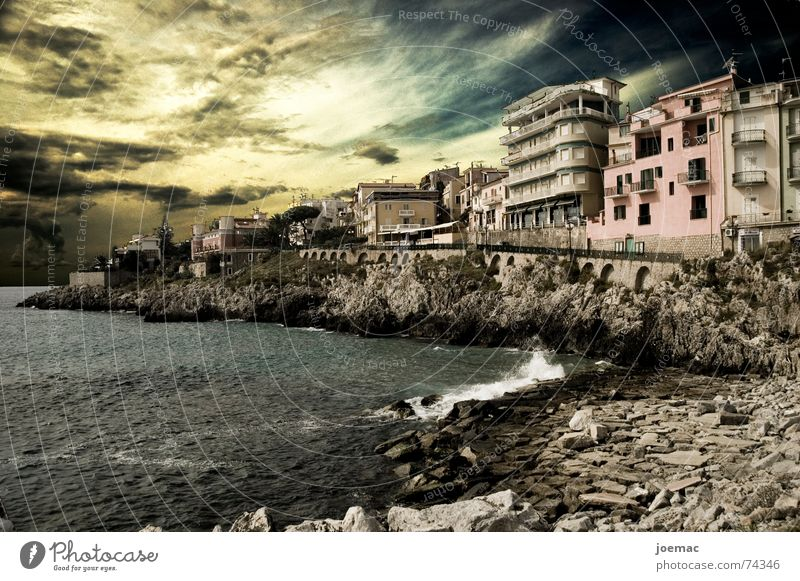 classic-old school-FX Italy Ocean Marina di Camerota Salerno Sunset Wall of rock Waves House (Residential Structure) Village Fisherman Promenade mare Sky