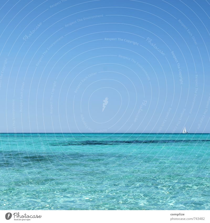 Vacation & Travel Blue Summer Sun Ocean Relaxation Calm Far-off places Beach Coast Swimming & Bathing Freedom Background picture Waves Tourism Island